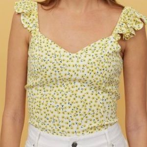 H&M Yellow Flower Ruffle Trim Top Size Small